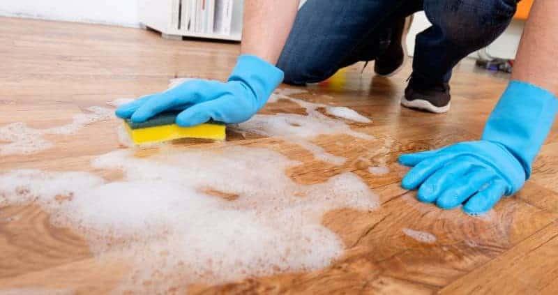 Clean vinyl floor with the sponge