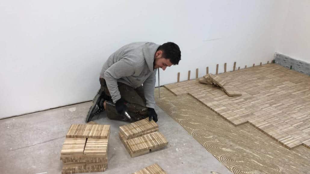 Parquet glued laid (industrial parquet)