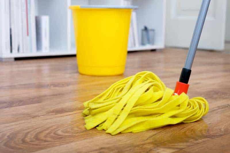 Clean vinyl floor with the wiper mop