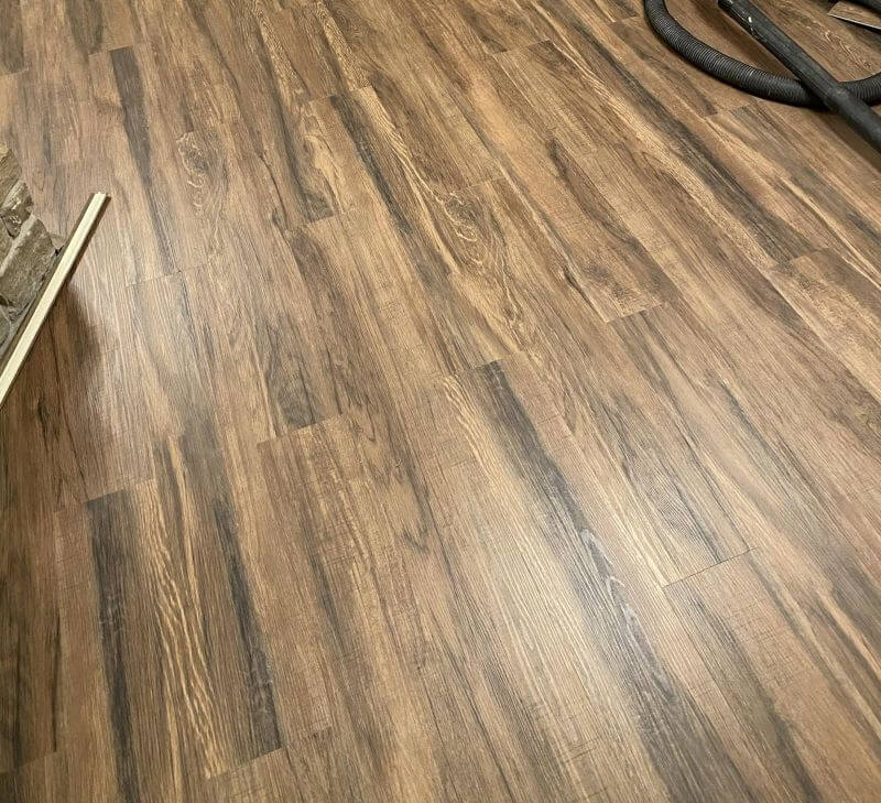 patterned wood floor installation