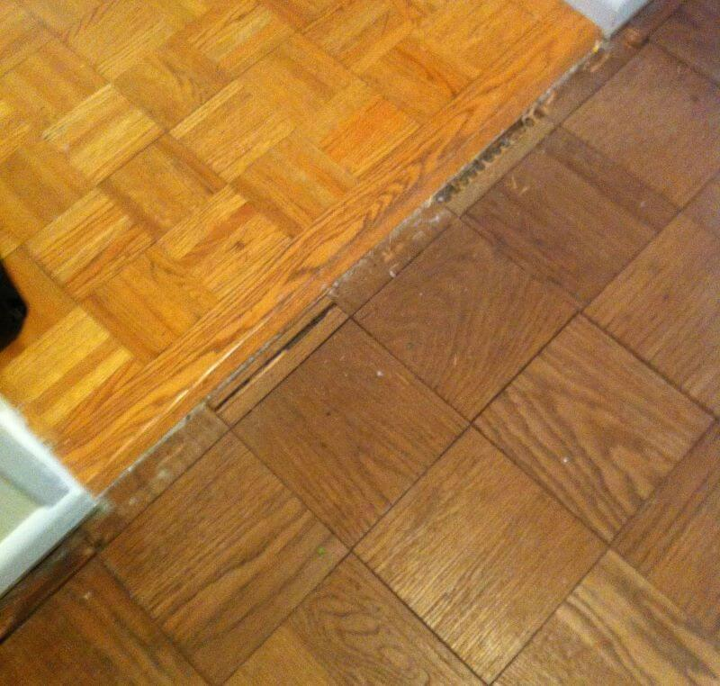 two wood floors transition